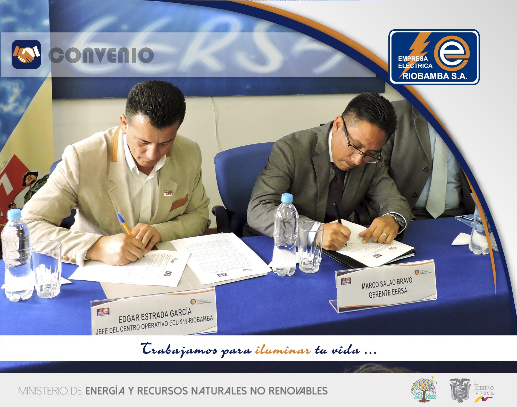 Convenio firmado entre la EERSA y ECU 911 fortalece la gestión institucional